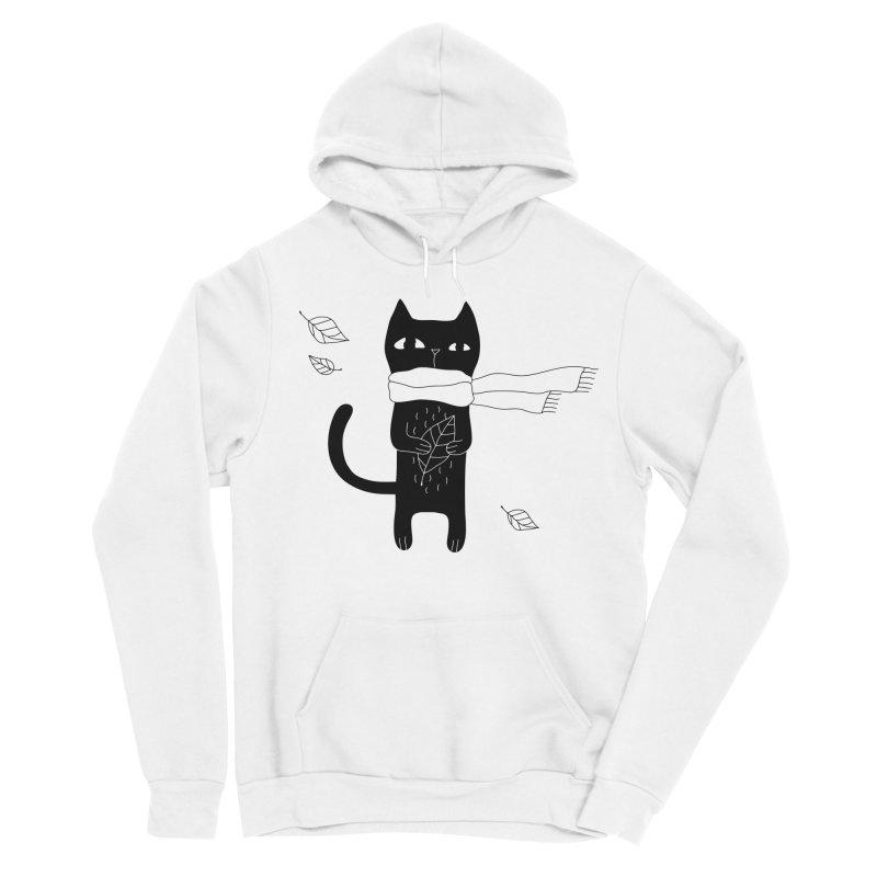 Lonely Cat Men's Sponge Fleece Pullover Hoody by PENARULIT illustration