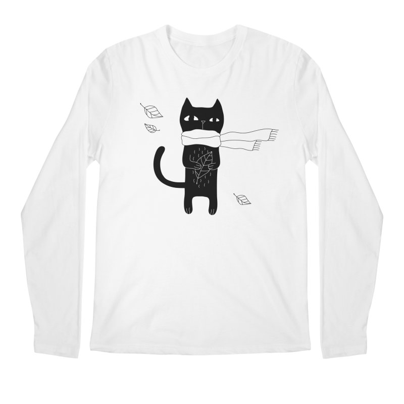 Lonely Cat Men's Regular Longsleeve T-Shirt by PENARULIT illustration