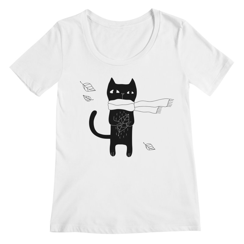 Lonely Cat Women's Regular Scoop Neck by PENARULIT illustration