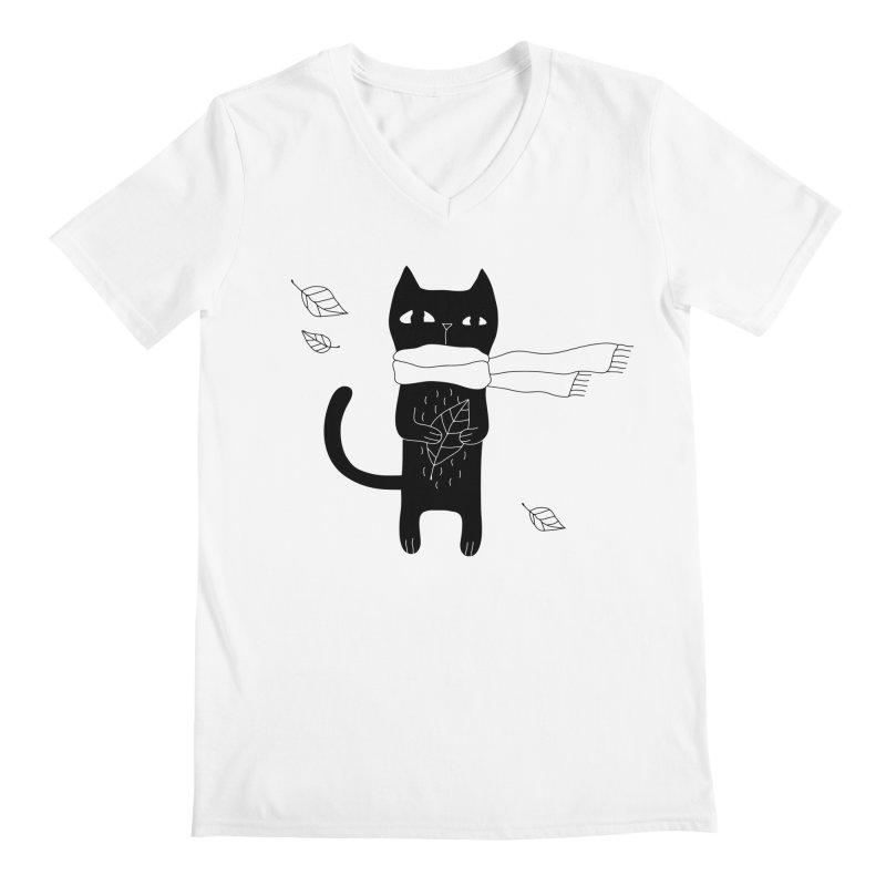 Lonely Cat Men's V-Neck by PENARULIT illustration