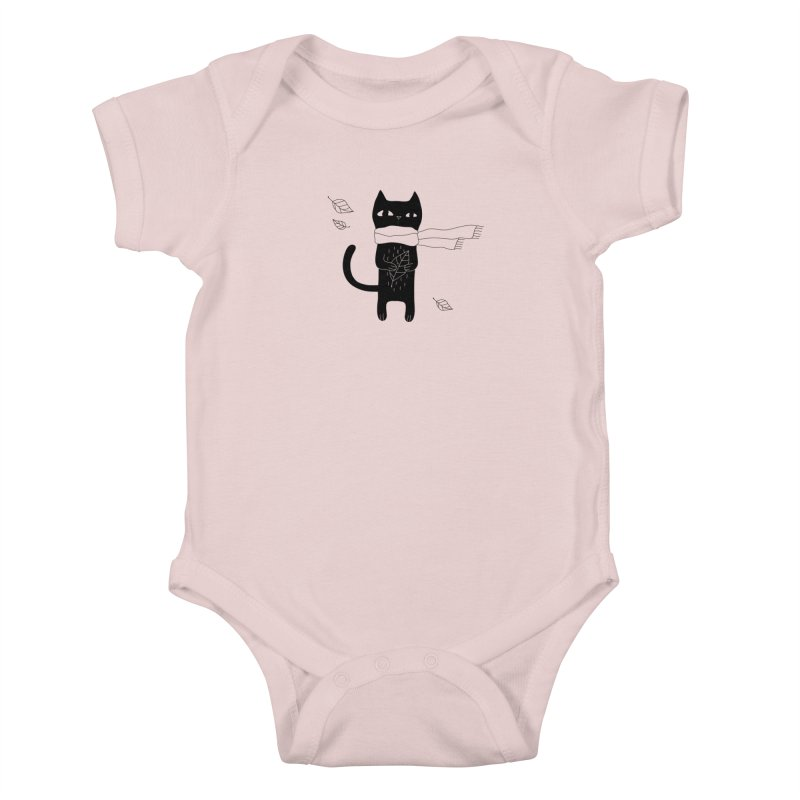Lonely Cat Kids Baby Bodysuit by PENARULIT illustration