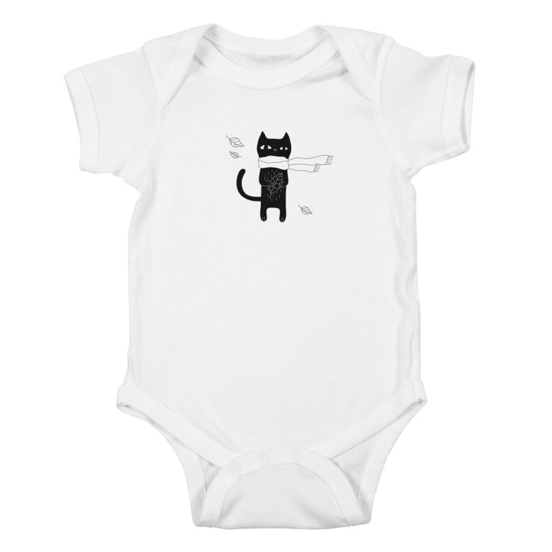 Lonely Cat Kids Baby Bodysuit by PENARULIT illustration