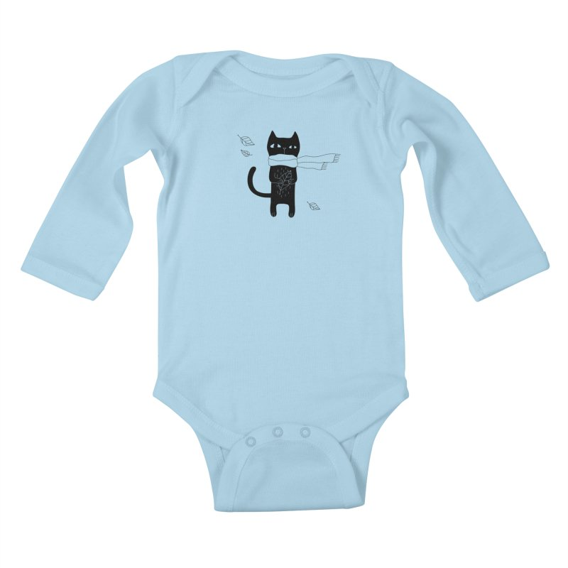 Lonely Cat Kids Baby Longsleeve Bodysuit by PENARULIT illustration