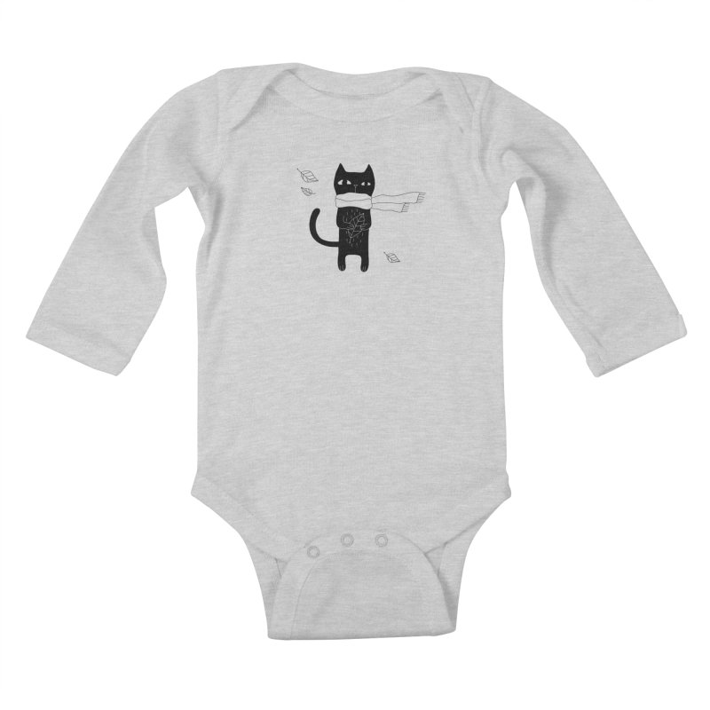 Lonely Cat Kids Baby Longsleeve Bodysuit by PENARULIT illustration