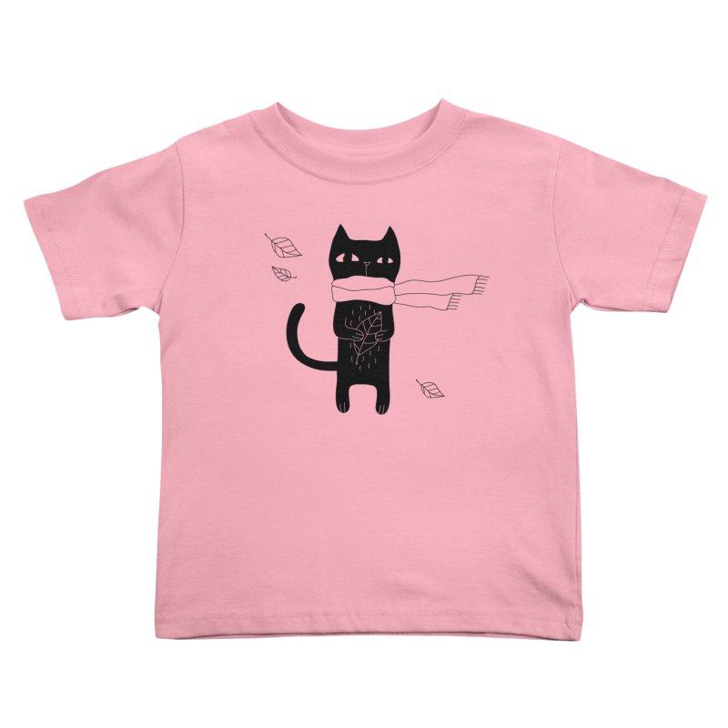 Lonely Cat Kids Toddler T-Shirt by PENARULIT illustration