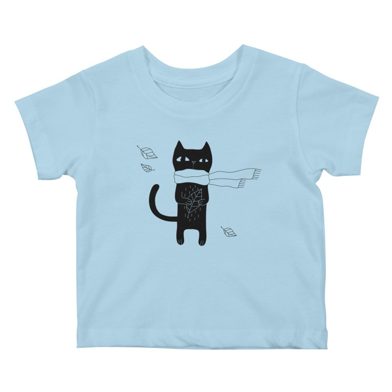 Lonely Cat Kids Baby T-Shirt by PENARULIT illustration