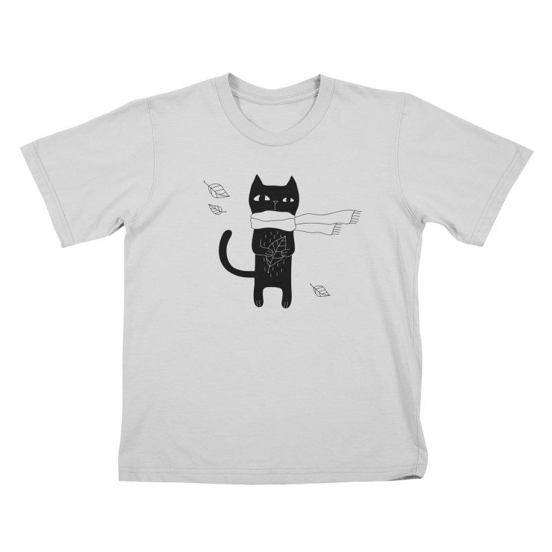 Lonely Cat Kids T-Shirt by PENARULIT illustration