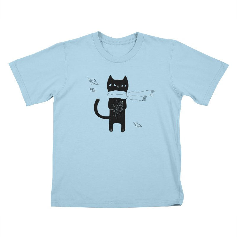 Lonely Cat Kids T-Shirt by PENARULIT illustration