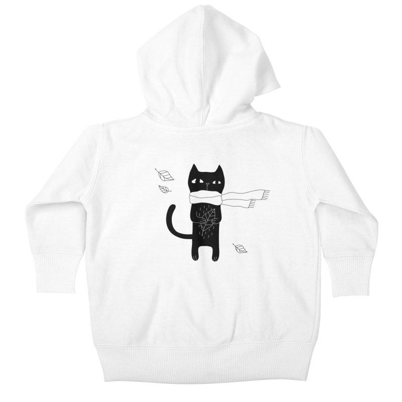 Lonely Cat Kids Baby Zip-Up Hoody by PENARULIT illustration