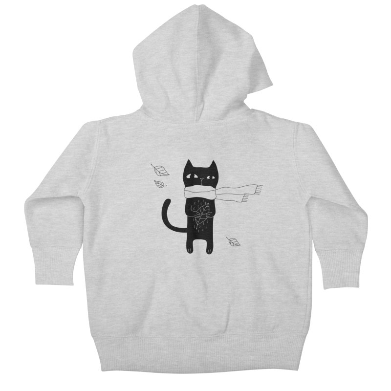 Lonely Cat Kids Baby Zip-Up Hoody by PENARULIT illustration