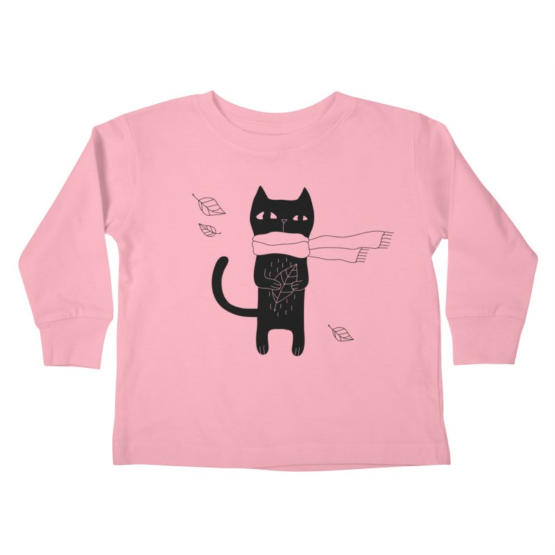 Lonely Cat Kids Toddler Longsleeve T-Shirt by Ekaterina Zimodro's Artist Shop