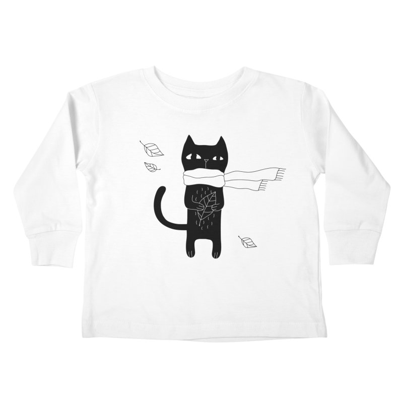 Lonely Cat Kids Toddler Longsleeve T-Shirt by PENARULIT illustration