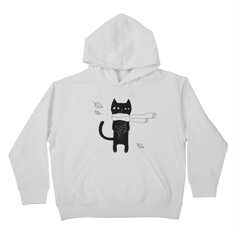 Lonely Cat Kids Pullover Hoody by PENARULIT illustration
