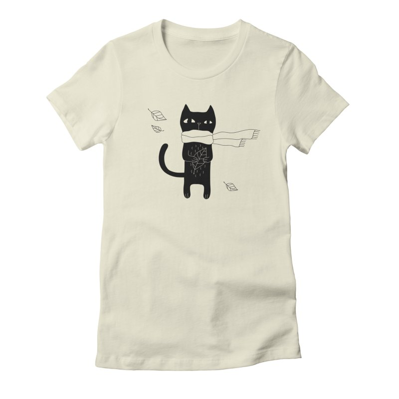 Lonely Cat Women's T-Shirt by PENARULIT illustration