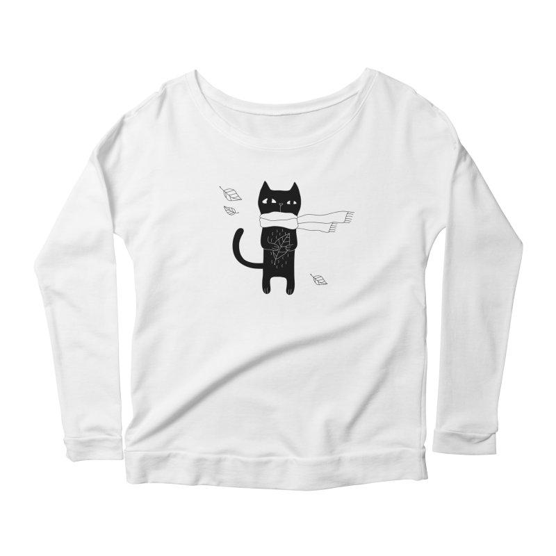Lonely Cat Women's Scoop Neck Longsleeve T-Shirt by Ekaterina Zimodro's Artist Shop