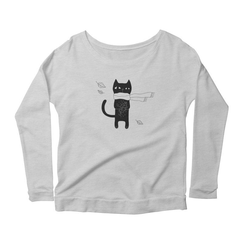 Lonely Cat Women's Scoop Neck Longsleeve T-Shirt by PENARULIT illustration