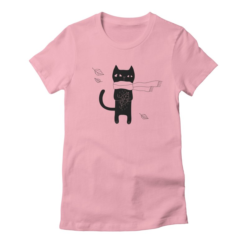 Lonely Cat Women's Fitted T-Shirt by PENARULIT illustration