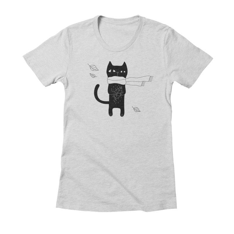 Lonely Cat Women's T-Shirt by PENARULIT illustration