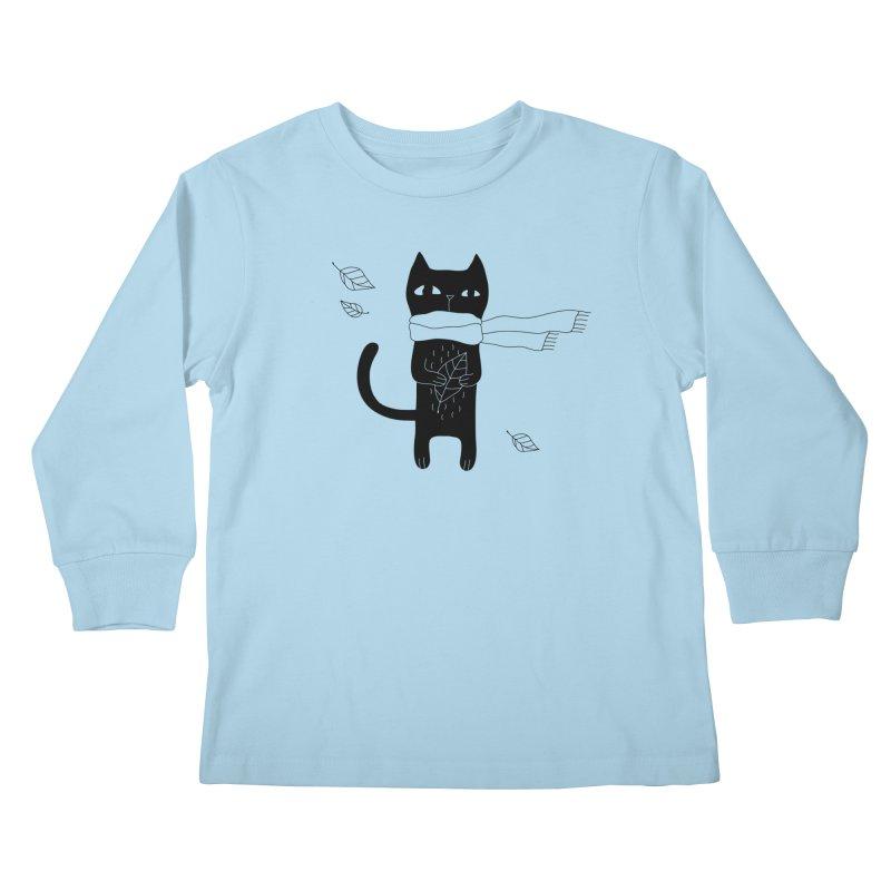 Lonely Cat Kids Longsleeve T-Shirt by PENARULIT illustration