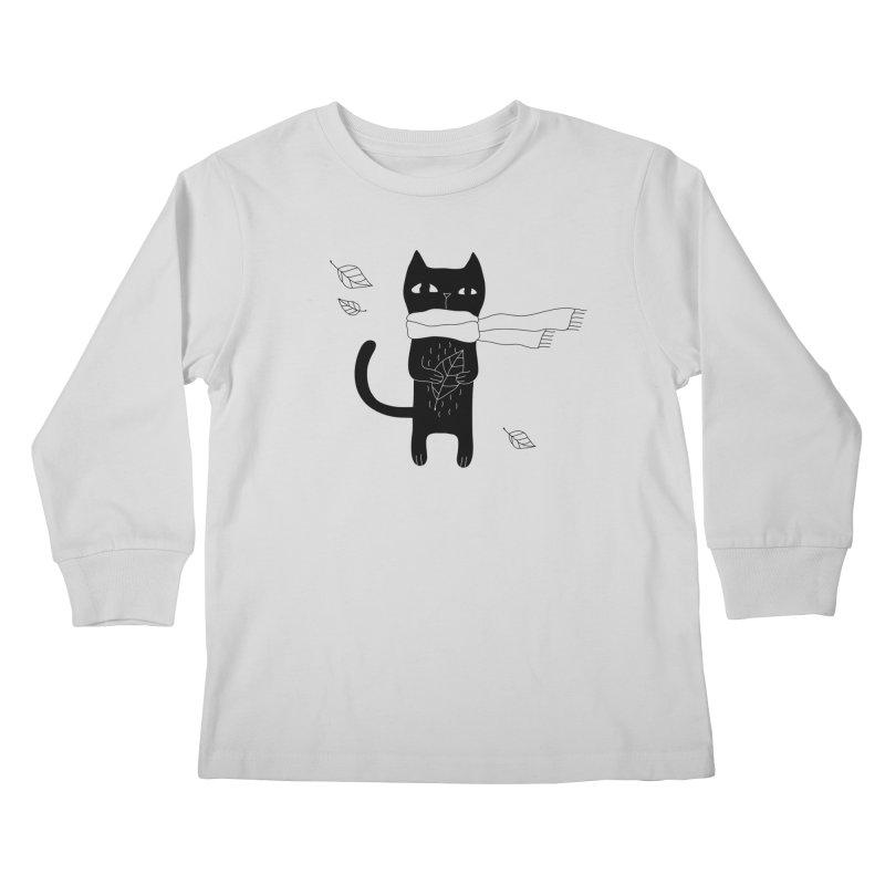 Lonely Cat Kids Longsleeve T-Shirt by Ekaterina Zimodro's Artist Shop