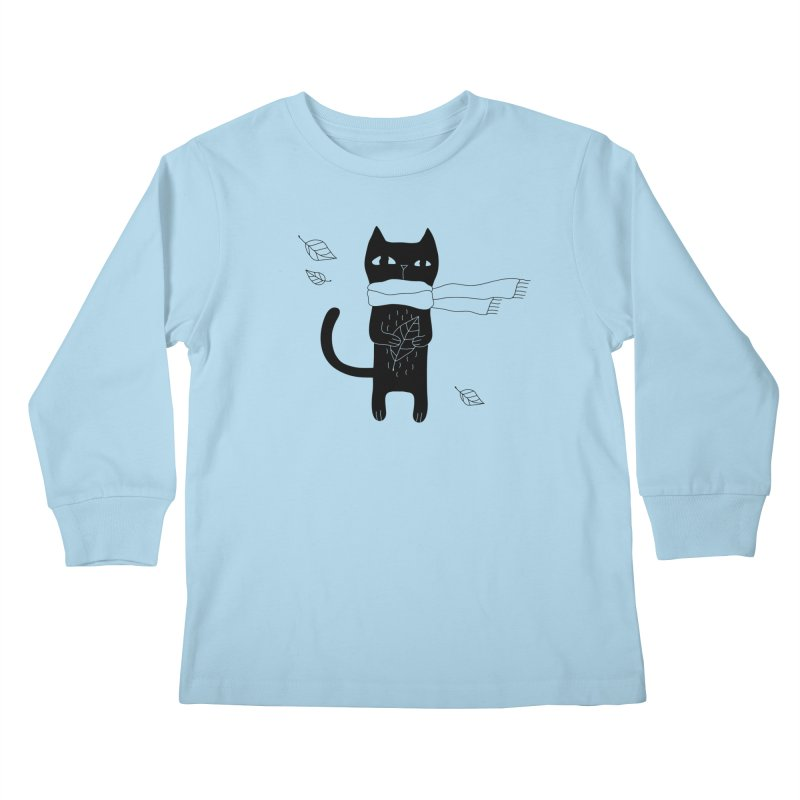 Lonely Cat Kids Longsleeve T-Shirt by Ekaterina Zimodro's Artist Shop