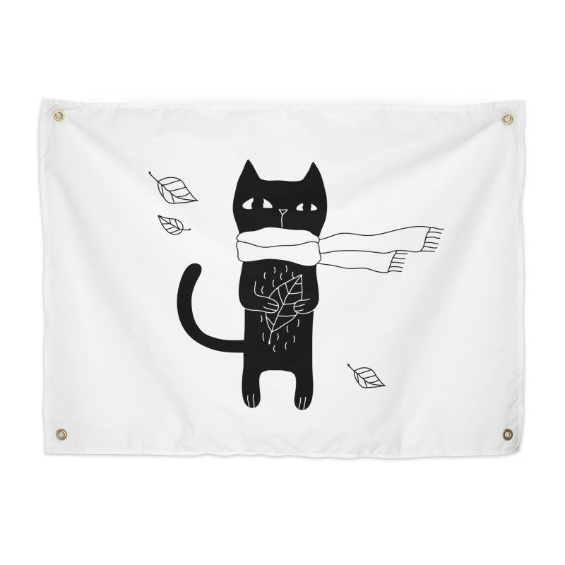 Lonely Cat Home Tapestry by Ekaterina Zimodro's Artist Shop