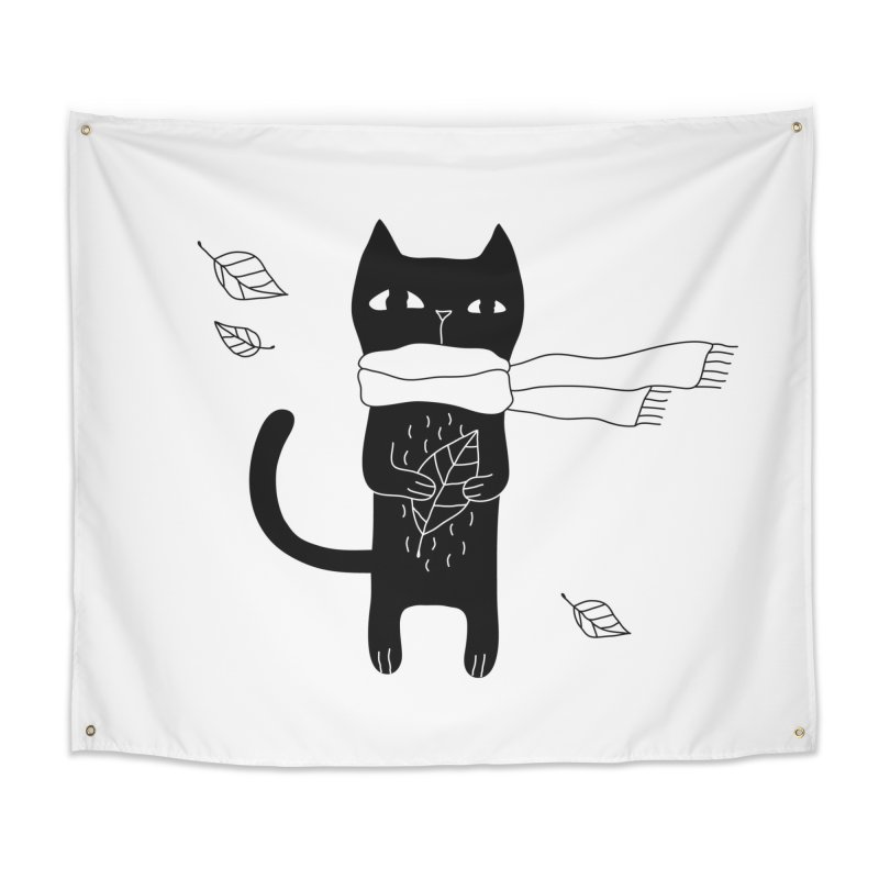 Lonely Cat Home Tapestry by PENARULIT illustration