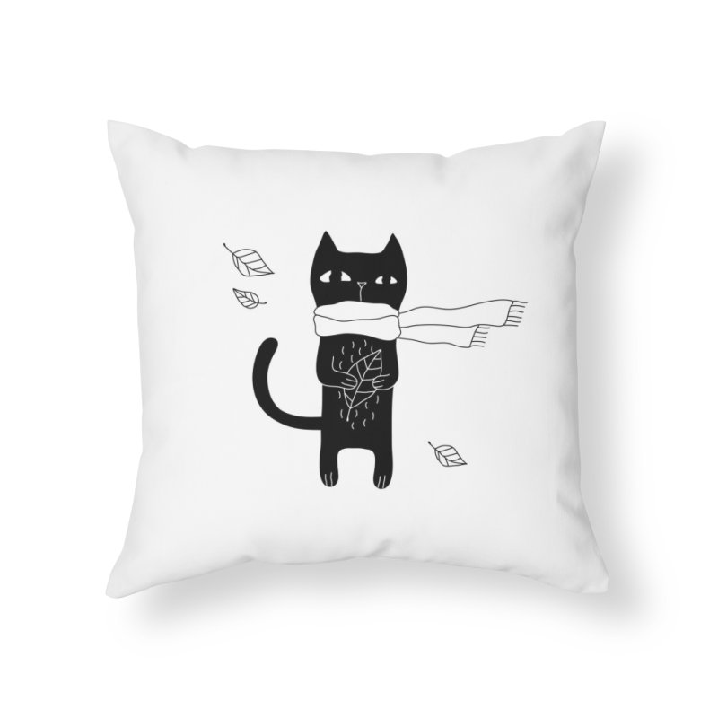Lonely Cat Home Throw Pillow by Ekaterina Zimodro's Artist Shop