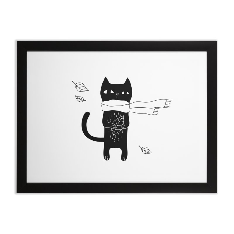 Lonely Cat Home Framed Fine Art Print by PENARULIT illustration