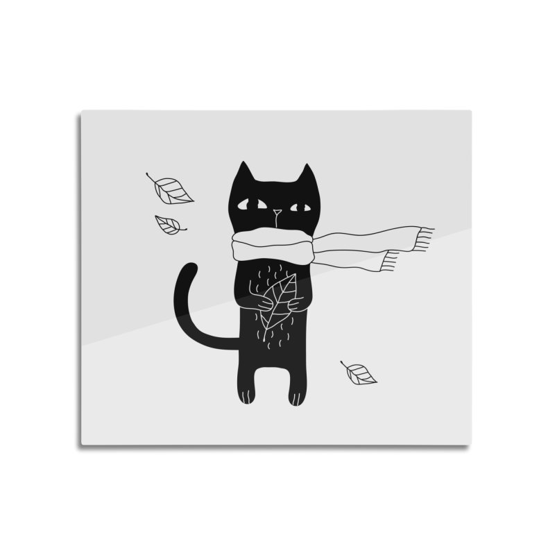Black Cat Home Mounted Aluminum Print by PENARULIT's Artist Shop