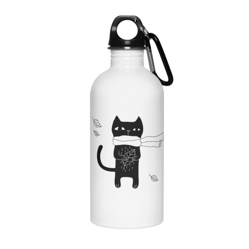 Lonely Cat Accessories Water Bottle by PENARULIT illustration