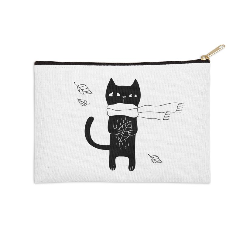 Lonely Cat Accessories Zip Pouch by PENARULIT illustration