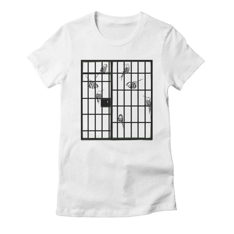 Jailbirds Women's Fitted T-Shirt by pennstudioink's Artist Shop