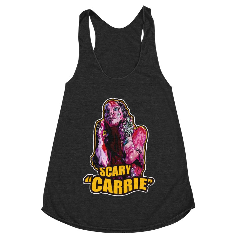 Scary Carrie Women's Racerback Triblend Tank by pentoolarts's Artist Shop