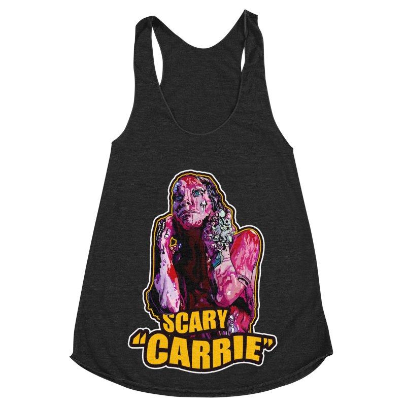 Scary Carrie Women's Racerback Triblend Tank by pentoolarts's Artist Shop