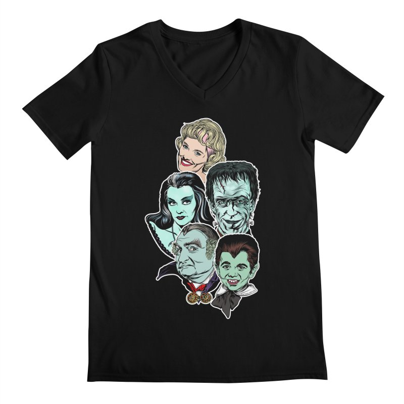 The Munsters RULE! Men's Regular V-Neck by pentoolarts's Artist Shop