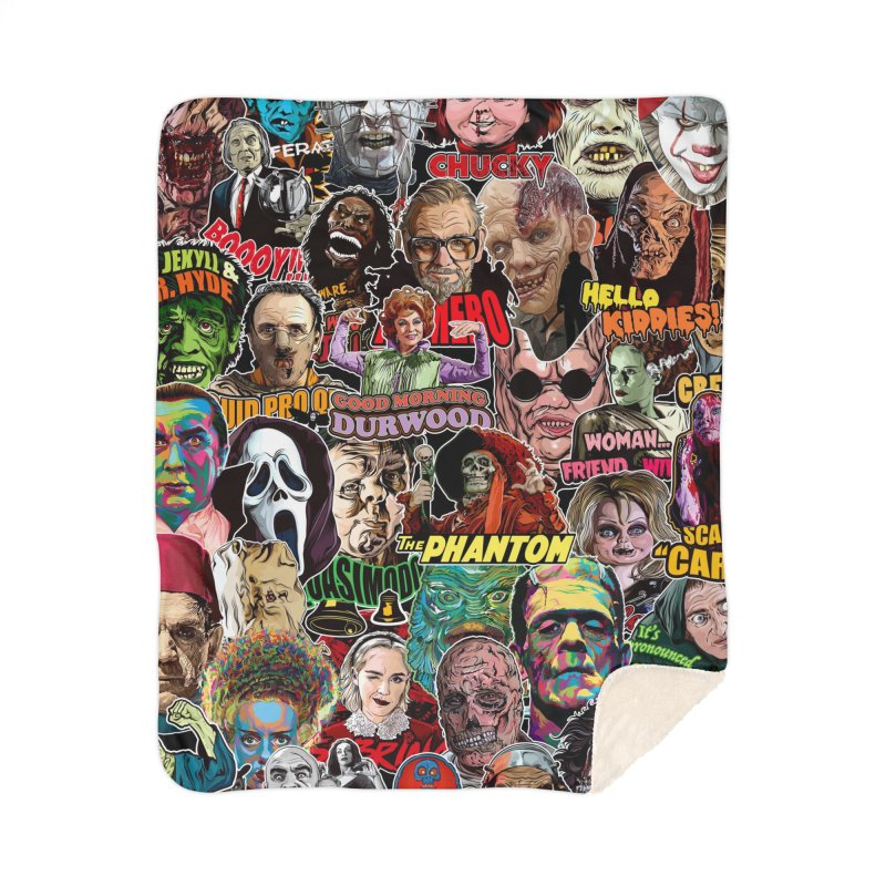 A Wonderful World of Horror Home Sherpa Blanket Blanket by pentoolarts's Artist Shop