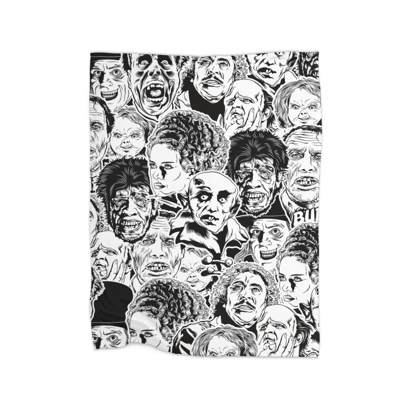 A Graphic Collage of Horror Greats! Home Fleece Blanket Blanket by pentoolarts's Artist Shop