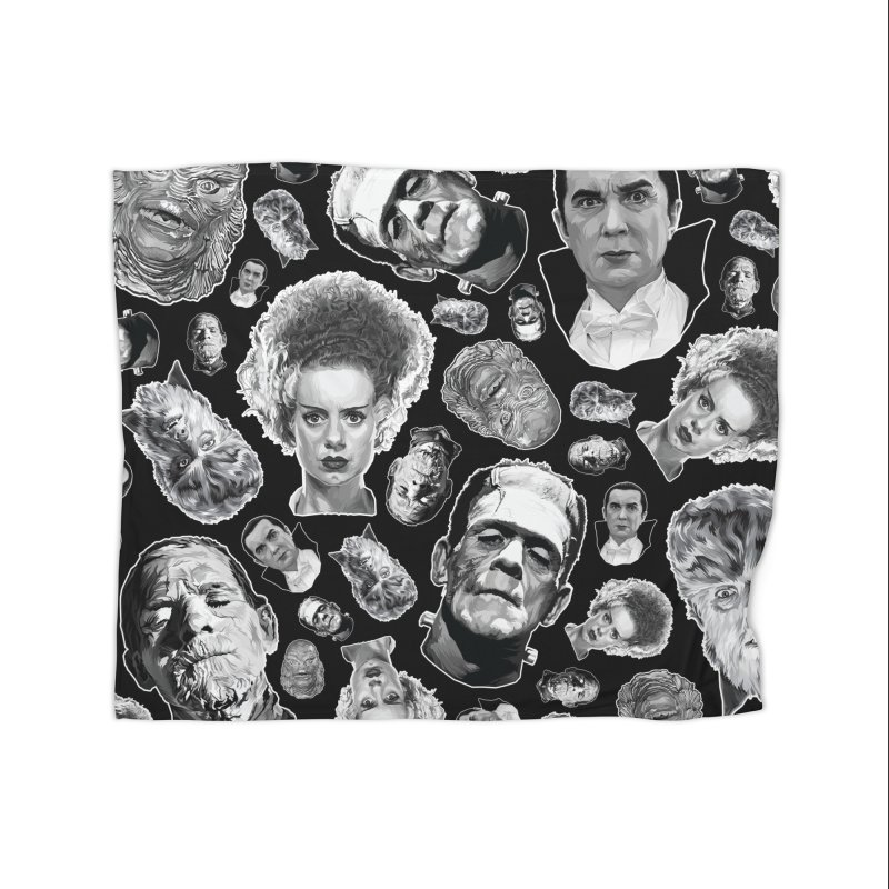 Horror Never Goes Out of Style...  in Black & White! Home Fleece Blanket Blanket by pentoolarts's Artist Shop