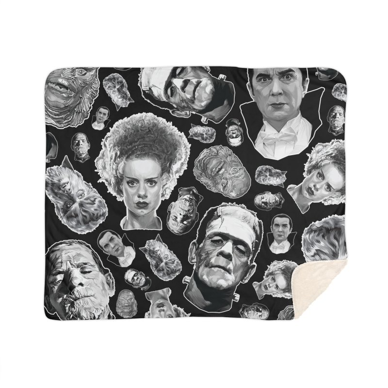 Horror Never Goes Out of Style...  in Black & White! Home Sherpa Blanket Blanket by pentoolarts's Artist Shop