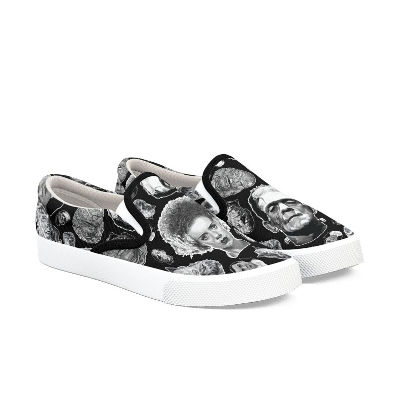 Horror Never Goes Out of Style...  in Black & White! Men's Slip-On Shoes by pentoolarts's Artist Shop