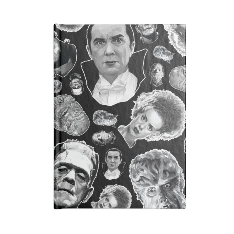 Horror Never Goes Out of Style...  in Black & White! Accessories Lined Journal Notebook by pentoolarts's Artist Shop