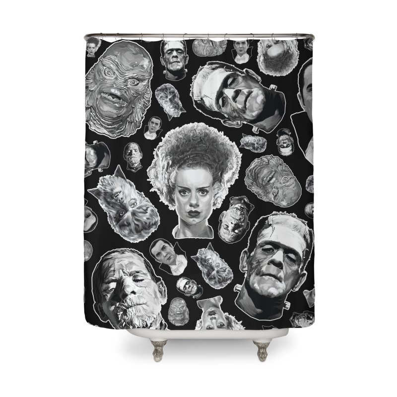 Horror Never Goes Out of Style...  in Black & White! Home Shower Curtain by pentoolarts's Artist Shop
