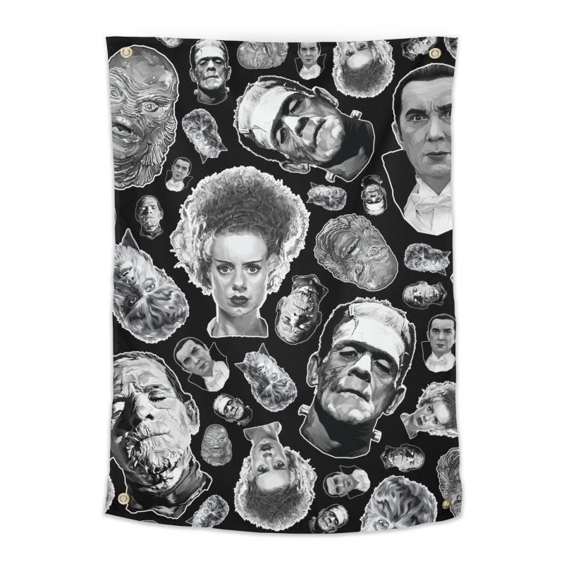 Horror Never Goes Out of Style...  in Black & White! Home Tapestry by pentoolarts's Artist Shop