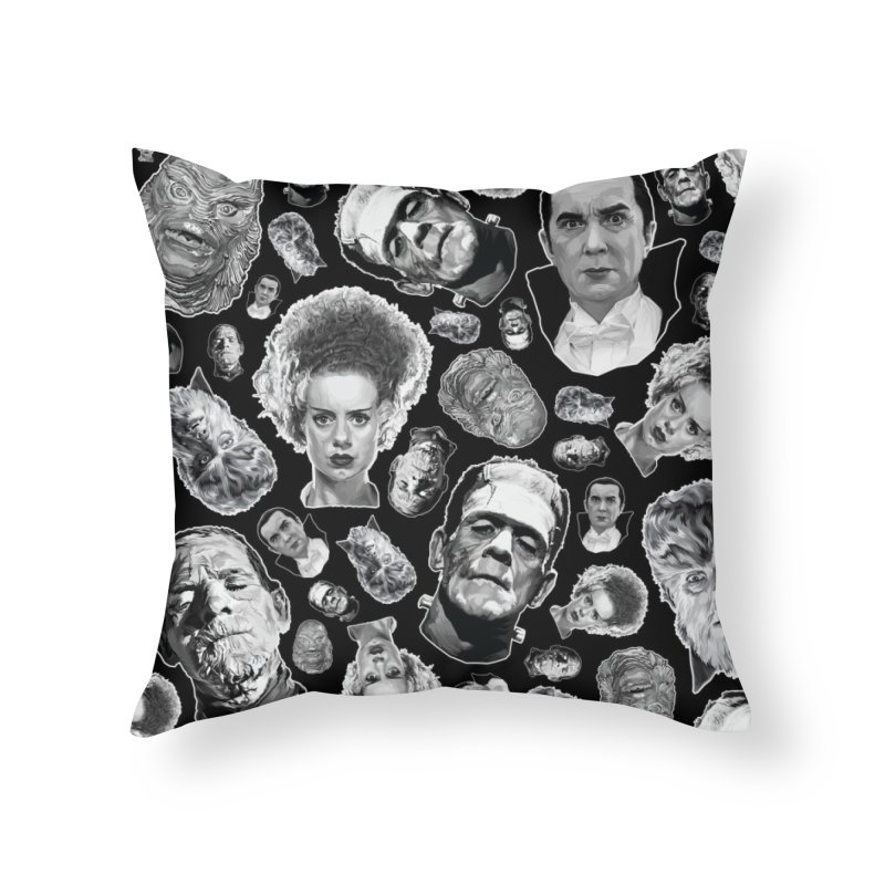 Horror Never Goes Out of Style...  in Black & White! Home Throw Pillow by pentoolarts's Artist Shop