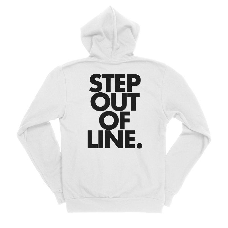 STEP OUT OF LINE-original art Men's Sponge Fleece Zip-Up Hoody by La Tiendita Pepito