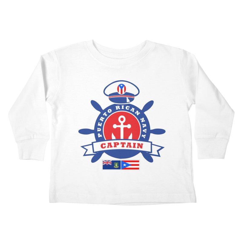 Puerto Rican Navy Kids Toddler Longsleeve T-Shirt by La Tiendita Pepito