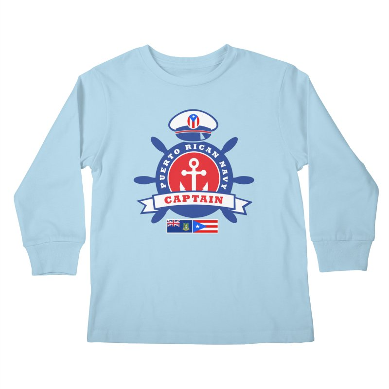 Puerto Rican Navy Kids Longsleeve T-Shirt by La Tiendita Pepito