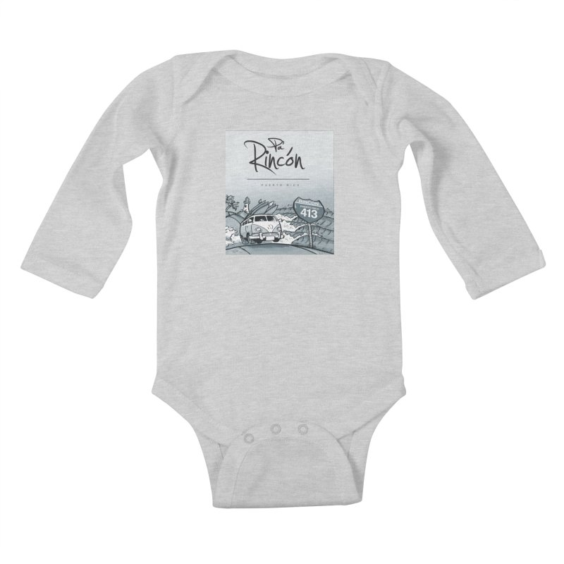 Pa' Rincón (sepia ) Kids Baby Longsleeve Bodysuit by La Tiendita Pepito