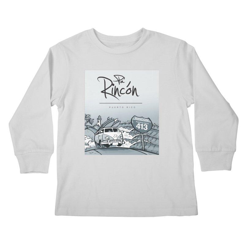 Pa' Rincón (sepia ) Kids Longsleeve T-Shirt by La Tiendita Pepito
